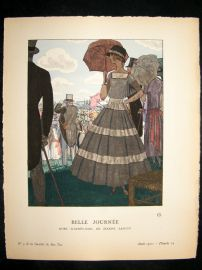Gazette du Bon Ton by Brissuad 1921 Art Deco Pochoir. Belle Journee
